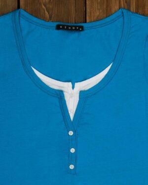 تیشرت دکمه دار ساده زنانه- آبی آسمانی-یقه
