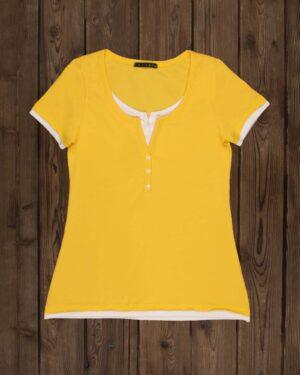 تیشرت دکمه دار ساده زنانه- زرد-روبه-رو
