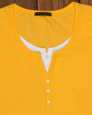 تیشرت دکمه دار ساده زنانه- زرد-یقه