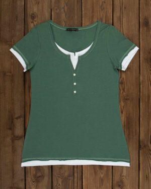 تیشرت دکمه دار ساده زنانه- سبز خزه ای-روبه-رو