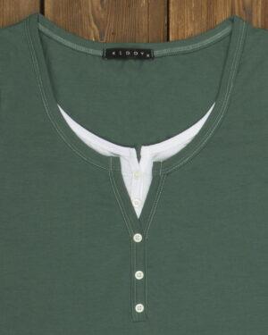 تیشرت دکمه دار ساده زنانه- سبز خزه ای- یقه