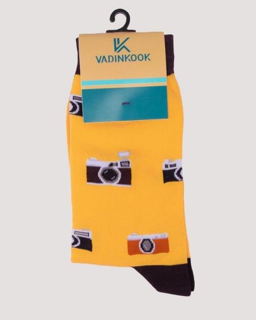 جوراب ساق بلند طرح رادیو -زرد-محیطی