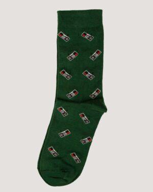 جوراب ساق بلند طرح رادیو - سبز تیره- جفت-روبه-رو