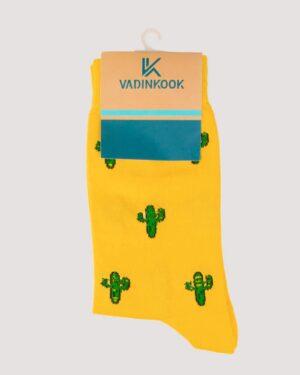 جوراب طرح کاکتوس- زرد -محیطی