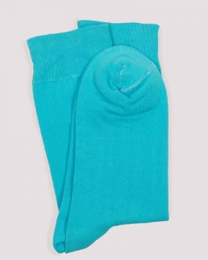 جوراب نخی ساده- آبی آسمانی-جفت -محیطی-روبرو