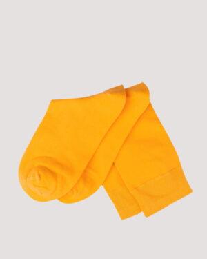 جوراب نخی ساده- زرد- جفت
