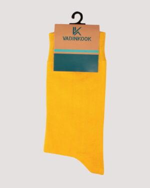 جوراب نخی ساده- زرد- روبرو