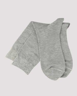 جوراب نخی ساده- طوسی کمرنگ- جفت