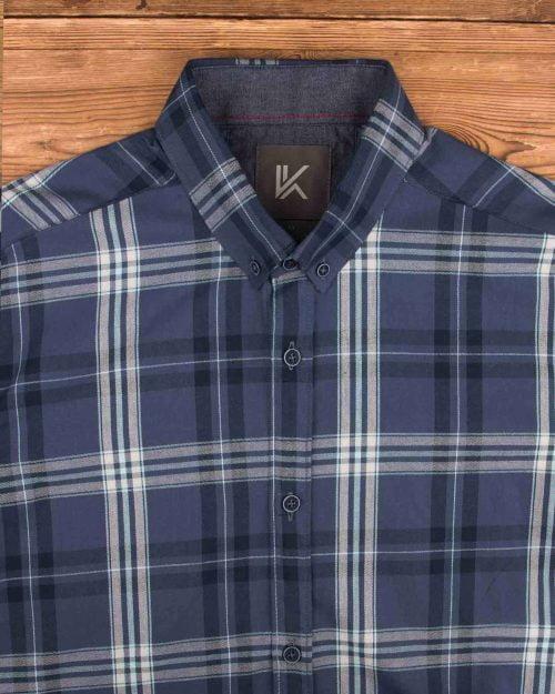 پیراهن آستین کوتاه مردانه- آبی بنفش تیره- یقه