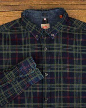 پیراهن مردانه چهارخانه سرمه ای تیره- یقه-محیطی