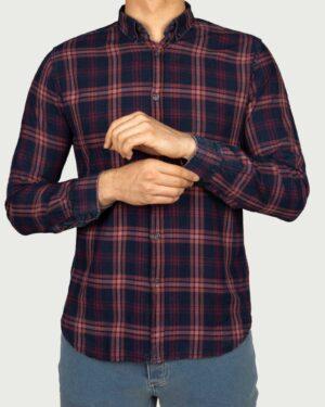 پیراهن نخی مردانه چهارخانه درشت- جگری- روبه-رو