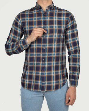 پیراهن چهارخانه مردانه اسپرت- نیلی- روبرو