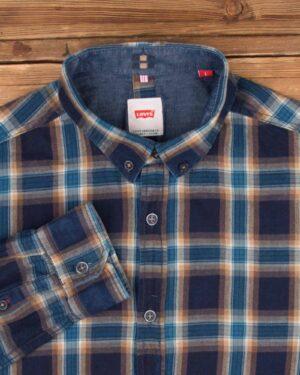 پیراهن چهارخانه مردانه اسپرت-نیلی- یقه