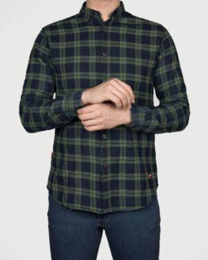 پیراهن چهارخونه نخی مردانه- سبز- روبه-رو