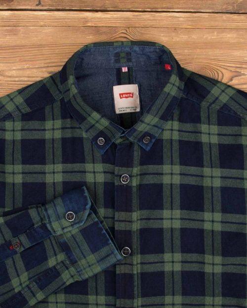 پیراهن چهارخونه نخی مردانه- سبز- یقه