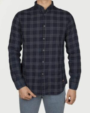 پیراهن چهارخونه نخی مردانه- سرمه ای تیره- روبه-رو