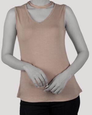 تاپ آستین حلقه ای زنانه با طوق دور گردن- خاکی- روبرو