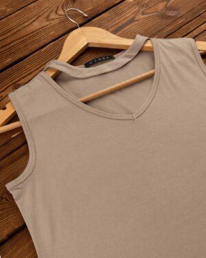 تاپ آستین حلقه ای زنانه با طوق دور گردن- خاکی- محیطی