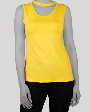 تاپ آستین حلقه ای زنانه با طوق دور گردن- زرد- روبرو