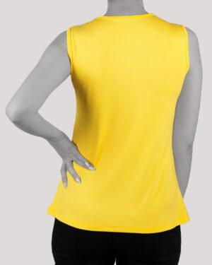 تاپ آستین حلقه ای زنانه با طوق دور گردن- زرد- پشت
