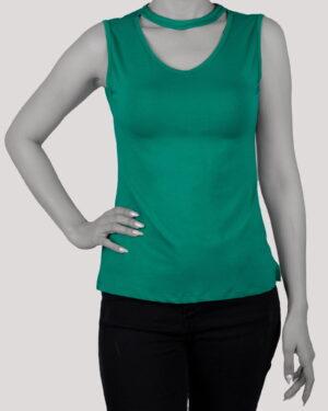 تاپ آستین حلقه ای زنانه با طوق دور گردن- سبزآبی- روبرو
