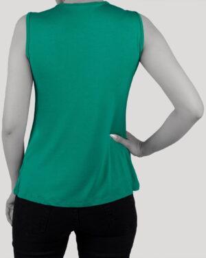 تاپ آستین حلقه ای زنانه با طوق دور گردن- سبزآبی- پشت