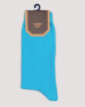 جوراب اسپرت رنگی کشی- آبی روشن- روبرو