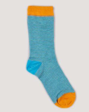 جوراب راه راه رنگی ساق دار- آبی روشن-جفت