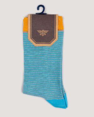 جوراب راه راه رنگی ساق دار- آبی روشن-روبرو
