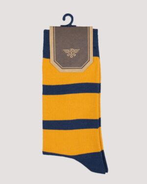 جوراب راه راه رنگی ساق دار- خردلی- روبرو