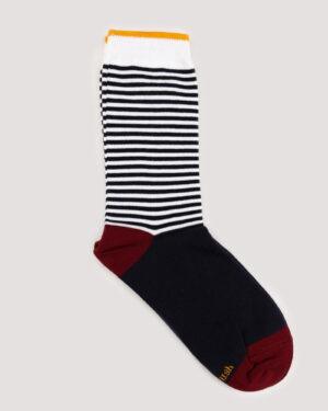 جوراب راه راه رنگی ساق دار- سرمه ای- جفت