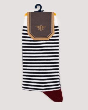جوراب راه راه رنگی ساق دار- سرمه ای- روبرو