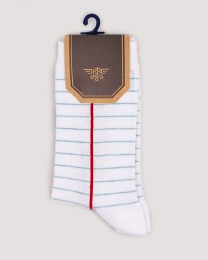 جوراب راه راه رنگی ساق دار- سفید- روبرو