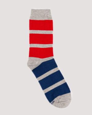 جوراب راه راه رنگی ساق دار- قرمز- جفت