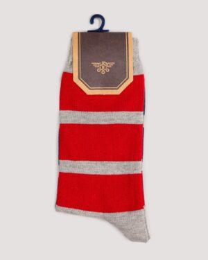 جوراب راه راه رنگی ساق دار- قرمز- روبرو