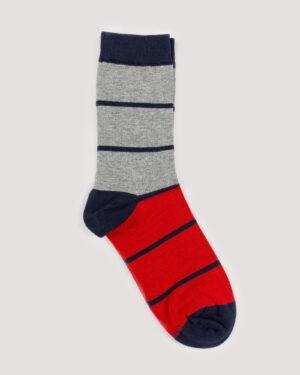 جوراب راه راه رنگی ساق دار- ملانژ- جفت