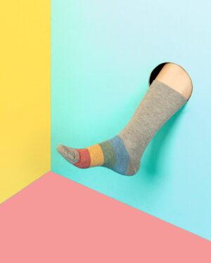 جوراب راه راه رنگی ساق دار- ملانژ- محیطی