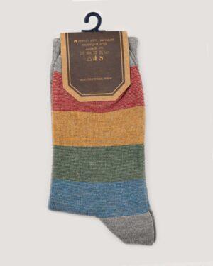جوراب راه راه رنگی ساق دار- ملانژ- نمای-روبرو