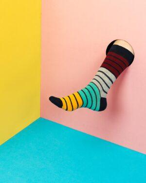 جوراب راه راه رنگی ساق دار- چند رنگ- محیطی