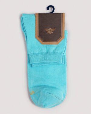 جوراب مردانه نخی- آبی فیروزه ای- نمای روبرو
