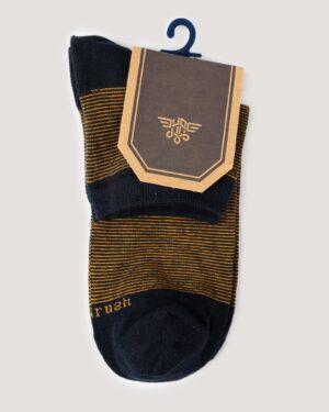 جوراب مردانه نخی اسپرت- زرد- روبرو