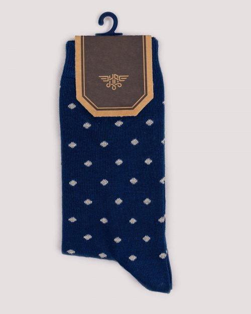 جوراب کشی طرح نقطه- آبی تیره- روبرو