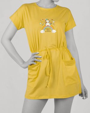 سارافون زنانه طرح دار- زرد- روبرو