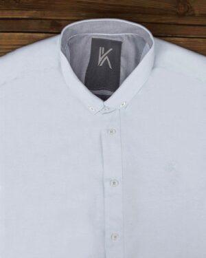 پیراهن آستین کوتاه مردانه نخی- آبی آسمانی- روبرو محیطی-یقه