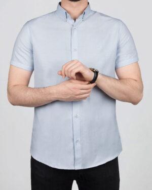 پیراهن آستین کوتاه مردانه نخی- آبی آسمانی- روبرو