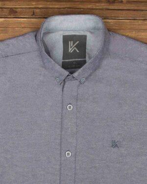 پیراهن آستین کوتاه مردانه نخی- آبی بنفش تیره- روبرو محیطی-یقه