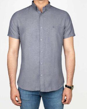 پیراهن آستین کوتاه مردانه نخی- آبی بنفش تیره- روبرو