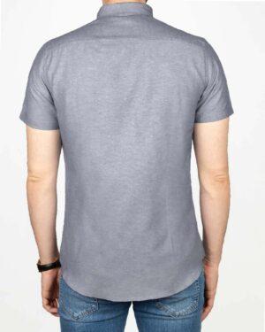 پیراهن آستین کوتاه مردانه نخی- آبی بنفش تیره- پشت