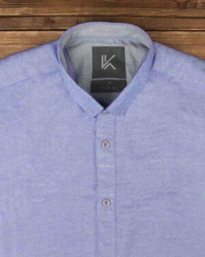 پیراهن آستین کوتاه مردانه نخی- آبی روشن- روبرو محیطی-یقه