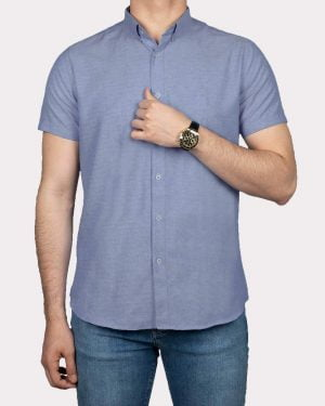 پیراهن آستین کوتاه مردانه نخی- آبی روشن- روبرو